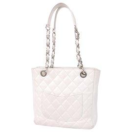Chanel-Chanel White Caviar Petit Shopping Tote-White,Cream