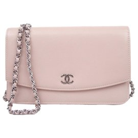 Chanel-Chanel Pink Caviar Wallet on Chain-Pink,Other