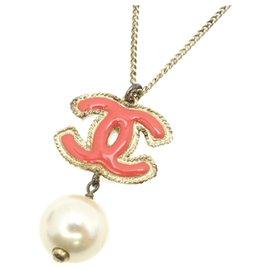 Chanel-Collier de fausses perles CC rose Chanel-Rose,Blanc