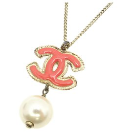 Chanel-Chanel Pink CC Faux Pearl Necklace-Pink,White