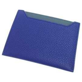 Céline-Celine Blue Business Leather Card Holder-Blue