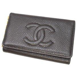 Chanel-Porte-clés Chanel CC Caviar noir-Noir