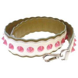 Fendi-Bracelet en cuir clouté blanc Fendi You-Rose,Blanc