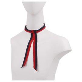 Gucci-Noeud de cou en gros-grain Gucci Red Web-Rouge,Bleu,Bleu foncé