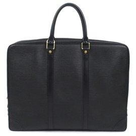 Louis Vuitton-Louis Vuitton Black Epi Porte-Documents Voyage-Black