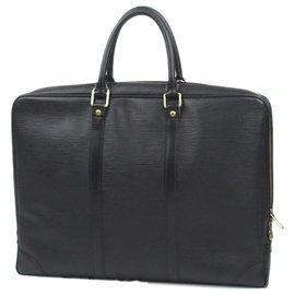 Louis Vuitton-Louis Vuitton Black Epi Porte-Documents Voyage-Noir