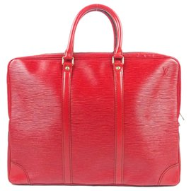 Louis Vuitton-Louis Vuitton Red Epi Porte-Documents Voyage-Red