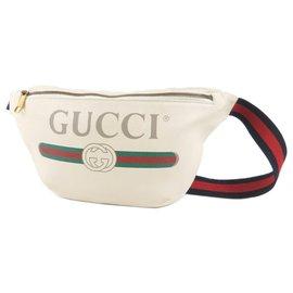 Gucci-Gucci White 2018 Sac banane en cuir à logo-Blanc,Multicolore