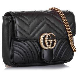 Gucci-Gucci Black GG Marmont Pearl Chain Belt Bag-Noir