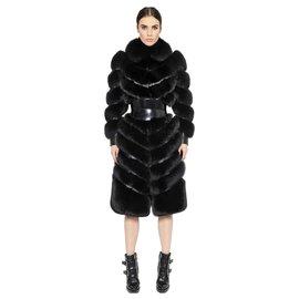 Alexander Mcqueen-Alexander McQueen black fox fur and leather coat-Black