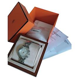 Hermès-Clipper Chrono watch-Silvery