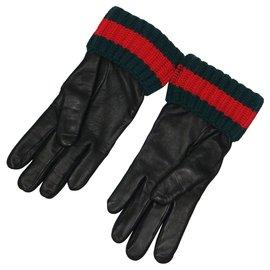 Gucci-Gloves-Black,Red,Dark green