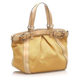 Gucci-Gucci Brown Diamante Canvas Tote Bag-Marron,Beige,Marron clair