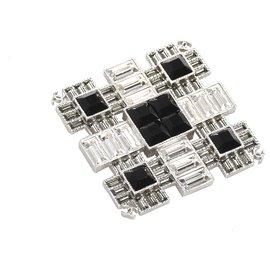 Chanel-Chanel White Square Rhinestone Brooch-Black,White