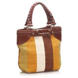 Gucci-Sac cabas en toile à mors marron Gucci-Marron,Multicolore