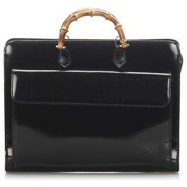Gucci-Porte-documents en cuir verni bambou noir Gucci-Marron,Noir