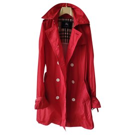 Burberry-BURBERRY RAINCOAT IN RED POLYESTER-Red