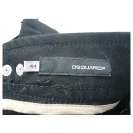 Dsquared2-DSQUARED 2 Pantalon court coton noir baggy T44 IT-Noir