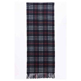 Burberry-Burberry unisex scarf, Long, lightweight-Red,Blue,Navy blue