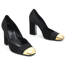Hermès-BLACK SATIN GOLD FR37.5-Black