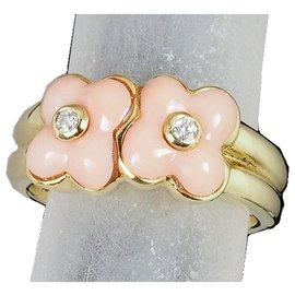 Van Cleef & Arpels-Vintage Van Cleef & Arpels 18Bague fleur corail et diamant en or K-Multicolore