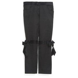 Chanel-BLACK SATIN BOW FR42/44-Noir