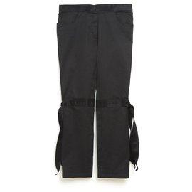 Chanel-BLACK SATIN BOW FR42/44-Black