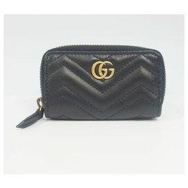 Gucci-Porte-clés femme GUCCI à glissière ronde GG Marmont 498127 black-Noir