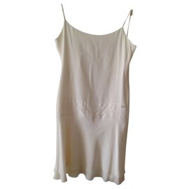 Chanel-Dress with thin straps 100% ivory silk-Other