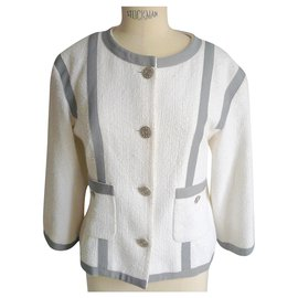 Chanel-CHANEL White cotton tweed jacket with gray edging GOOD CONDITION S44 fr-White,Grey