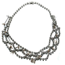 Tom Binns-Barbed Wire & Crystal Necklace-Silvery