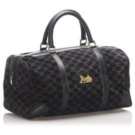 Céline-Celine Black C Macadam Suede Travel Bag-Brown,Black