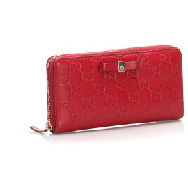 Gucci-Gucci Red Guccissima Zip Around Long Portefeuille-Rouge