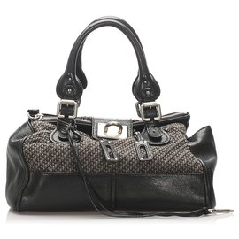 Chloé-Chloe Black Paddington Canvas Handbag-Black,Grey