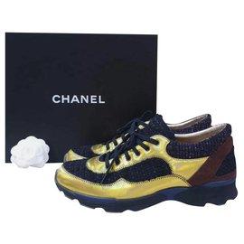 Chanel-CHANEL Multicolor Tweed Sneakers Sz.39-Multiple colors