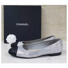 Chanel-Chanel Satin CC Logo Ballet Flats Shoes Sz 40,5-Silvery