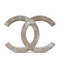 Chanel-Chanel Gold Multicolor Pearl CC Marble Brooch-Multiple colors