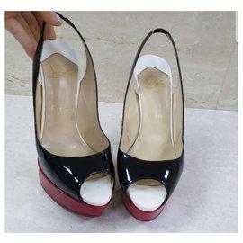 Christian Louboutin-Christian Louboutin Patent Leather Lady Peep Toe Platform Sling Heels Sz 38-Multiple colors