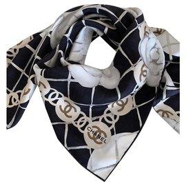 Chanel-FOULARD CHANEL SOIE-Noir