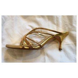 Alexander Mcqueen-Alexander McQueen golden sandals-Golden