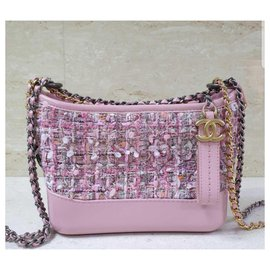 Chanel-Chanel Gabrielle Small Hobo Tweed calf leather Bag-Pink