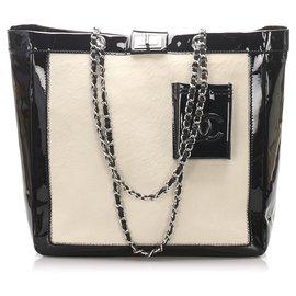 Chanel-Chanel White CC Fur Tote Bag-Black,White
