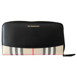 Burberry-Burberry Black/Beige Leather Check Continental Zip Wallet-Multiple colors