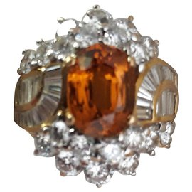 inconnue-Diamond and yellow sapphire ring-Golden