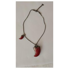 Christian Dior-CHRISTIAN DIOR HORN NECKLACE-Red