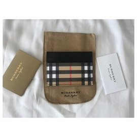 Burberry-Burberry Black/Beige Leather Check Card Holder-Multiple colors