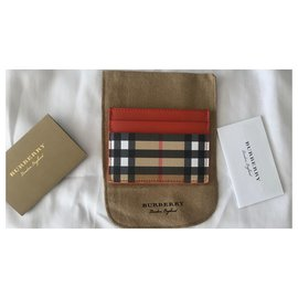 Burberry-Burberry Red/Beige Leather Check Card Holder-Multiple colors