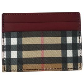 Burberry-Burberry Burgundy/Beige Leather Check Card Holder-Multiple colors