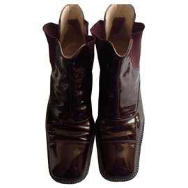 Chanel-Ankle Boots-Dark red