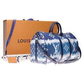 Louis Vuitton-NEUF - SERIE LIMITEE - Sac de voyage Louis Vuitton Keepall 50 bandoulière en toile enduite collection Escale-Blanc,Bleu